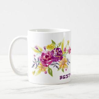 Pink Violet Floral Best Mom Coffee Mug