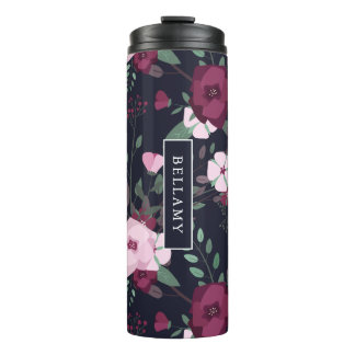 Pink & Violet Roses Floral Pattern Custom Name Thermal Tumbler