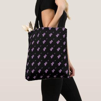 Pink Violin Pattern Tote Bag
