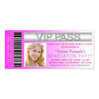 Pink VIP Pass Admission Ticket Graduation Party 10 Cm X 24 Cm Invitation Card