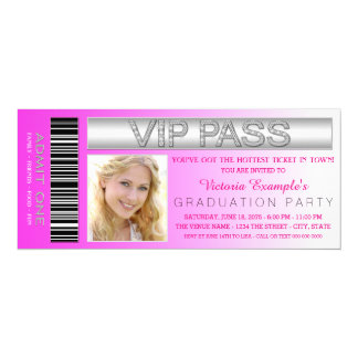 Pink VIP Pass Admission Ticket Graduation Party Personalized Invitation