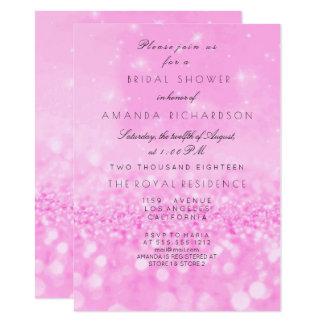 Pink Vivid Bright Rose Glitter Bridal Shower Card