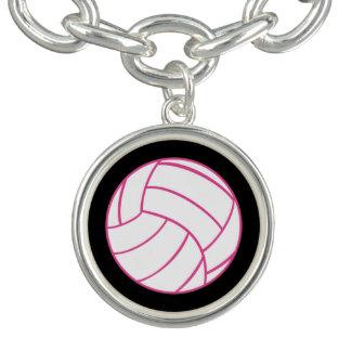 Pink Volleyball Charm Bracelet