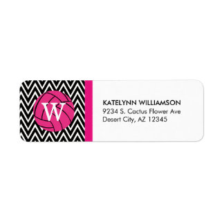 Pink Volleyball Chevron Monogram Address Labels