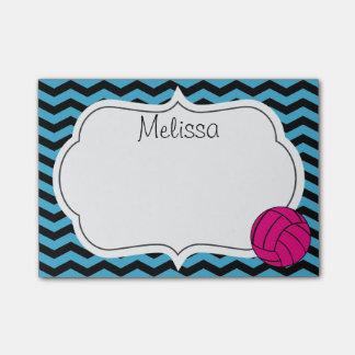 Pink Volleyball Chevron Monogram Post-It Notes