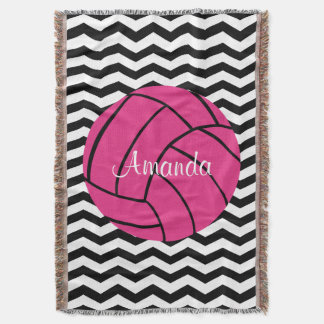 Pink Volleyball Custom Monogram Throw Blanket