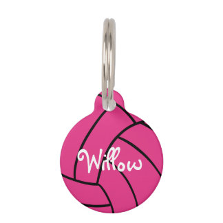 Pink Volleyball Personalised Pet Tag