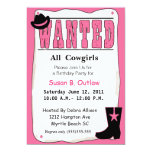 Pink Wanted Poster Birthday Invitation
