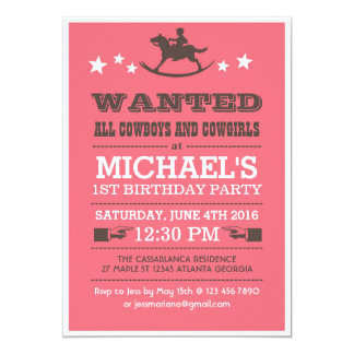 "Pink Wanted Western Cowboy Birthday Invitation 5"" X 7"" Invitation Card"
