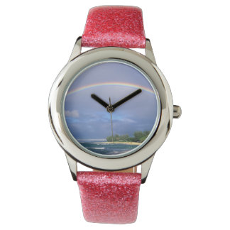 pink watch with a beach rainbow