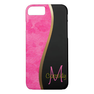 Pink Water Color, Gold and Black Swirl iPhone 8/7 Case