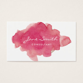 Pink Water Color Splat Business Card