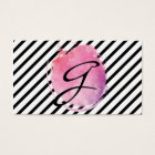 Pink Water Colour Monogram Fancy Text Stripes Business Card