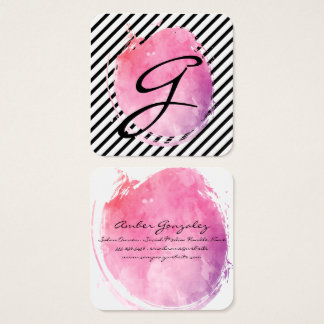 Pink Water Colour Monogram Fancy Text Stripes Square Business Card