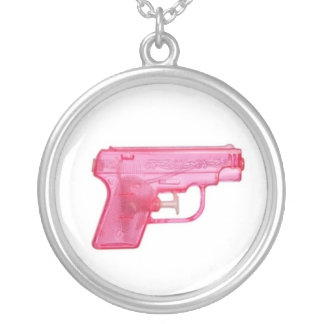 Pink Water Gun Silver Plated Necklace