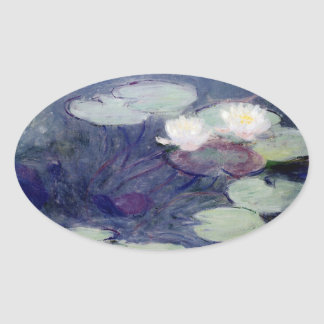 Pink Water-Lilies: 1897-99 by Monet Oval Sticker