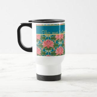 Pink Water Lilies, Dragonflies, Custom Travel Mug