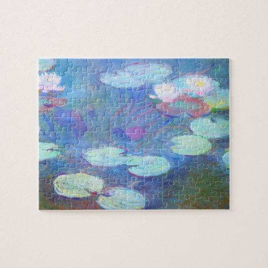 Pink Water Lilies Monet Fine Art Jigsaw Puzzle