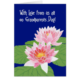 Pink Water Lilies on Blue Grandparents Day Card