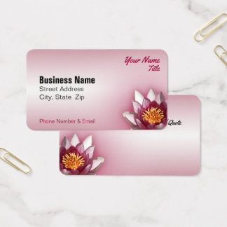 Pink Water Lily Close-Up Photograph Business Card