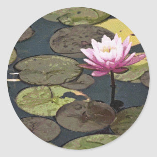 Pink Water Lily Drawing Sticker