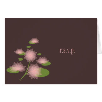 Pink Water Lily Elegant Simple Contemporary RSVP Card