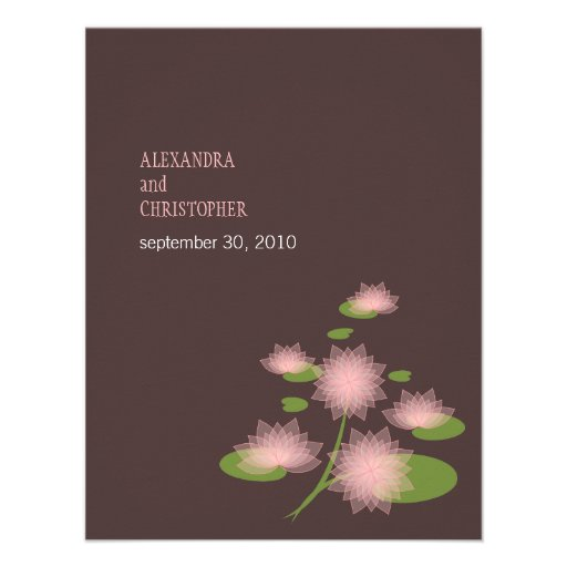 Pink Water Lily Elegant Simple Contemporary Weddin Invite