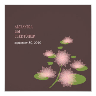 Pink Water Lily Elegant Simple Contemporary Weddin Personalized Invite