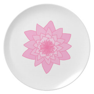 Pink Water Lily Flower. Party Plate
