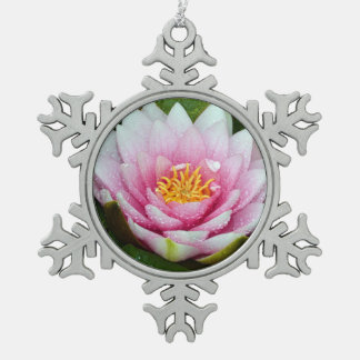 Pink water lily flower snowflake pewter christmas ornament