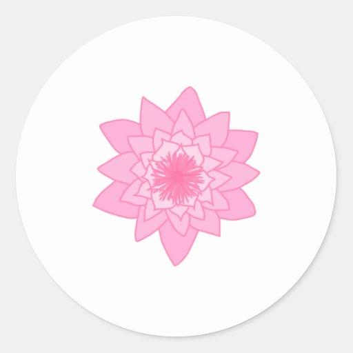 Pink Water Lily Flower. Round Sticker