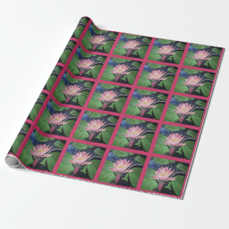 Pink Water Lily Hot Pink Squares Wrapping Paper