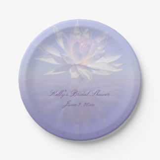 Pink Water Lily - Lotus Flower & Lavender 7 Inch Paper Plate