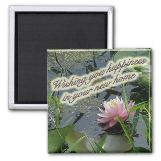 Pink Water Lily New Home Magnet