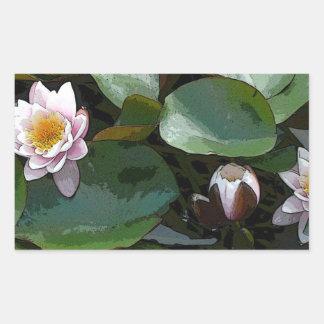 Pink Water Lily-pad Art Rectangular Sticker