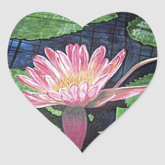Pink Water Lily Painting Heart Sticker