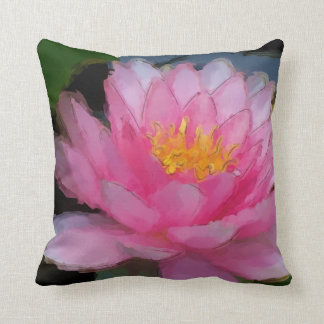 Pink Water Lily Painting Room Decor Pillow Throw Cushion