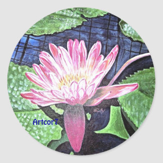 Pink Water Lily Painting Round Stickers