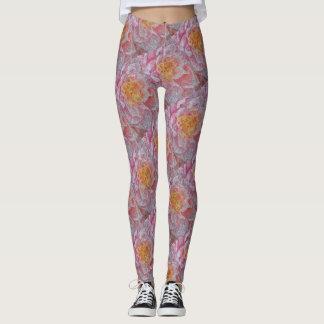 Pink Water Lily Pattern Leggings