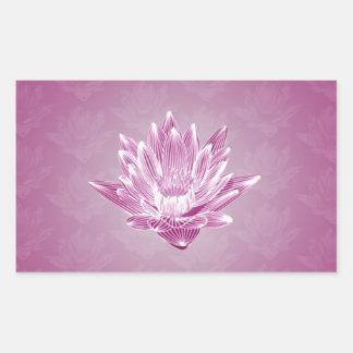 Pink Water Lily Rectangular Sticker