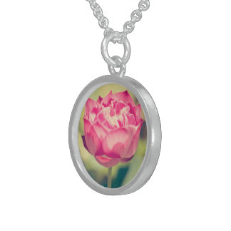 pink water lotus flower round pendant necklace