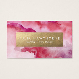 Pink Watercolor and Gold Faux Foil