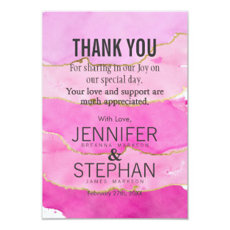 Pink Watercolor and Gold Thank You Cards 9 Cm X 13 Cm Invitation Card