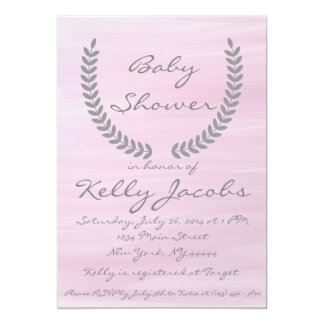 Pink Watercolor Baby Shower Invitation