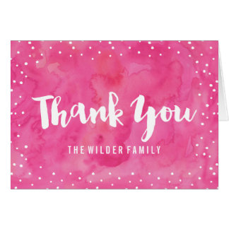 Pink Watercolor Baby Shower | Thank You Card