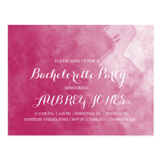 Pink Watercolor Bachelorette Party Invitations