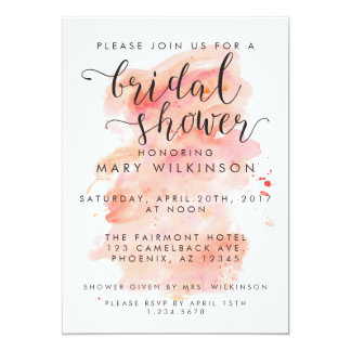 Pink Watercolor Background Bridal Shower Card