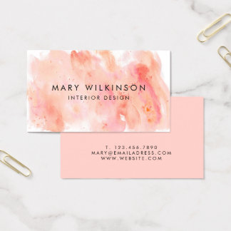 Pink Watercolor Background Business Card