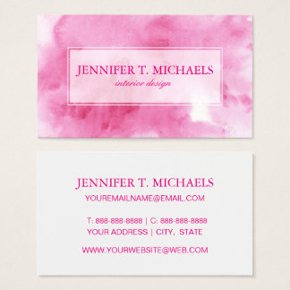 pink watercolor background for your business card
