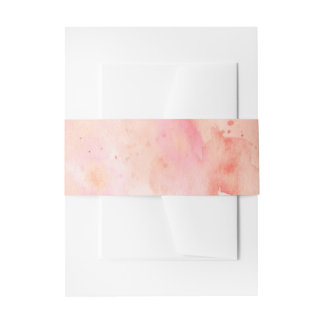Pink Watercolor Background Invitation Belly Band